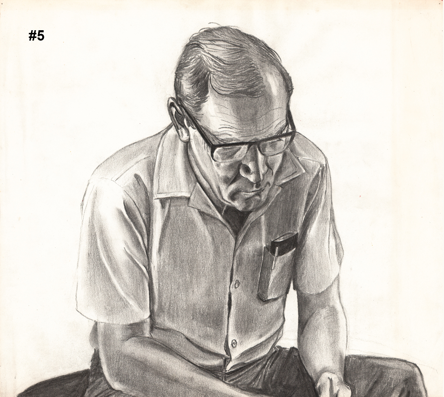 """#5 Dick Concentrating - Pencil Drawing - 15""""H x 17""""W"""