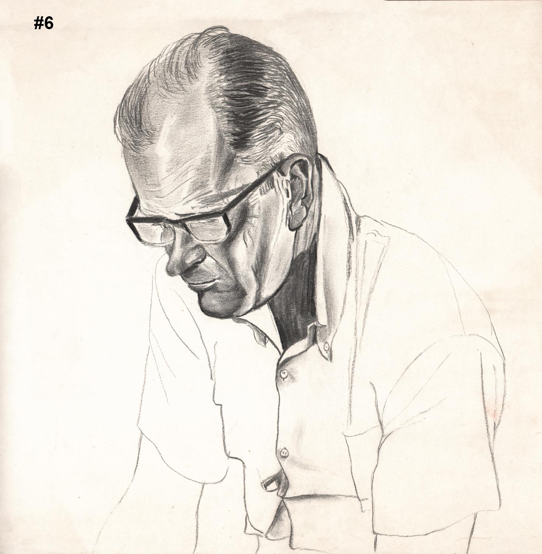 "#6 Dick Pensive - Large  Pencil Drawing - 15""H x 17""W"