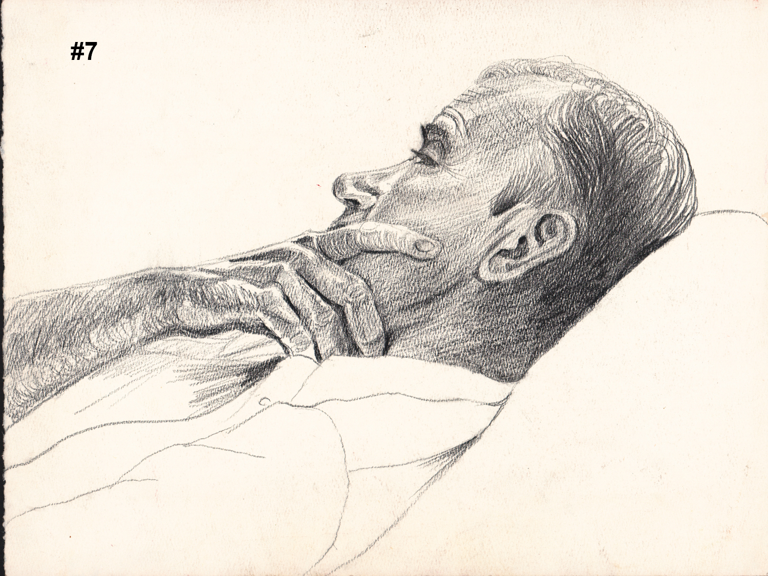 """#7 Untitled (Dick Pensive) - Pencil Drawing - 10""""H x 13""""W"""