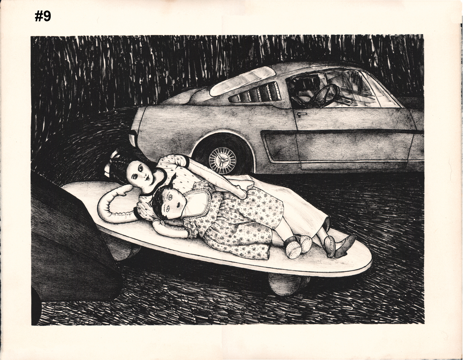 """#9 Untitled (Dolls with Mustang) - Lighograph or serigraph - 17.5""""H x 22""""W"""