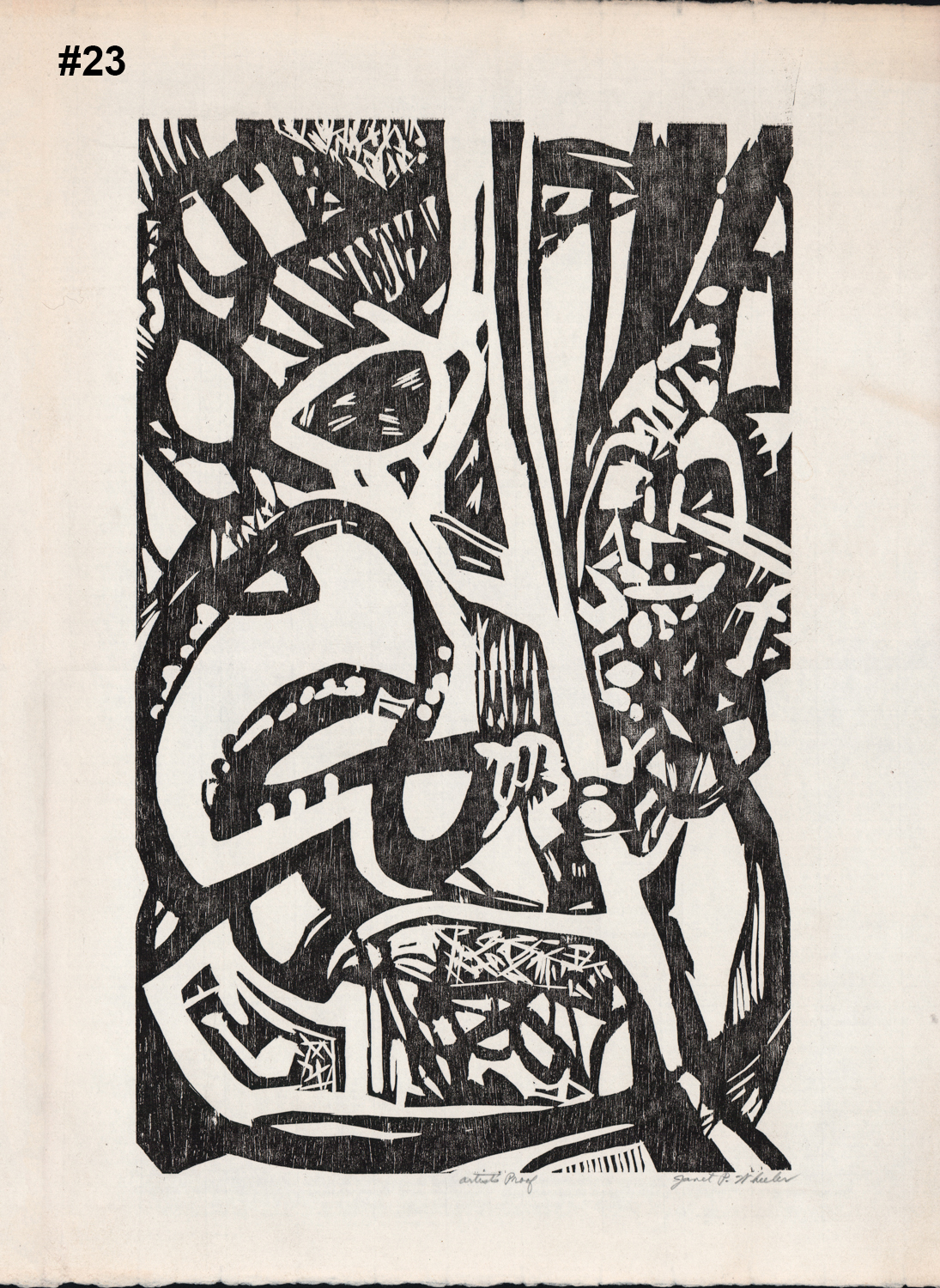"""#23 Untitled (Black Abstract 2) - Lithograph? - 22""""H x 15.5""""W"""