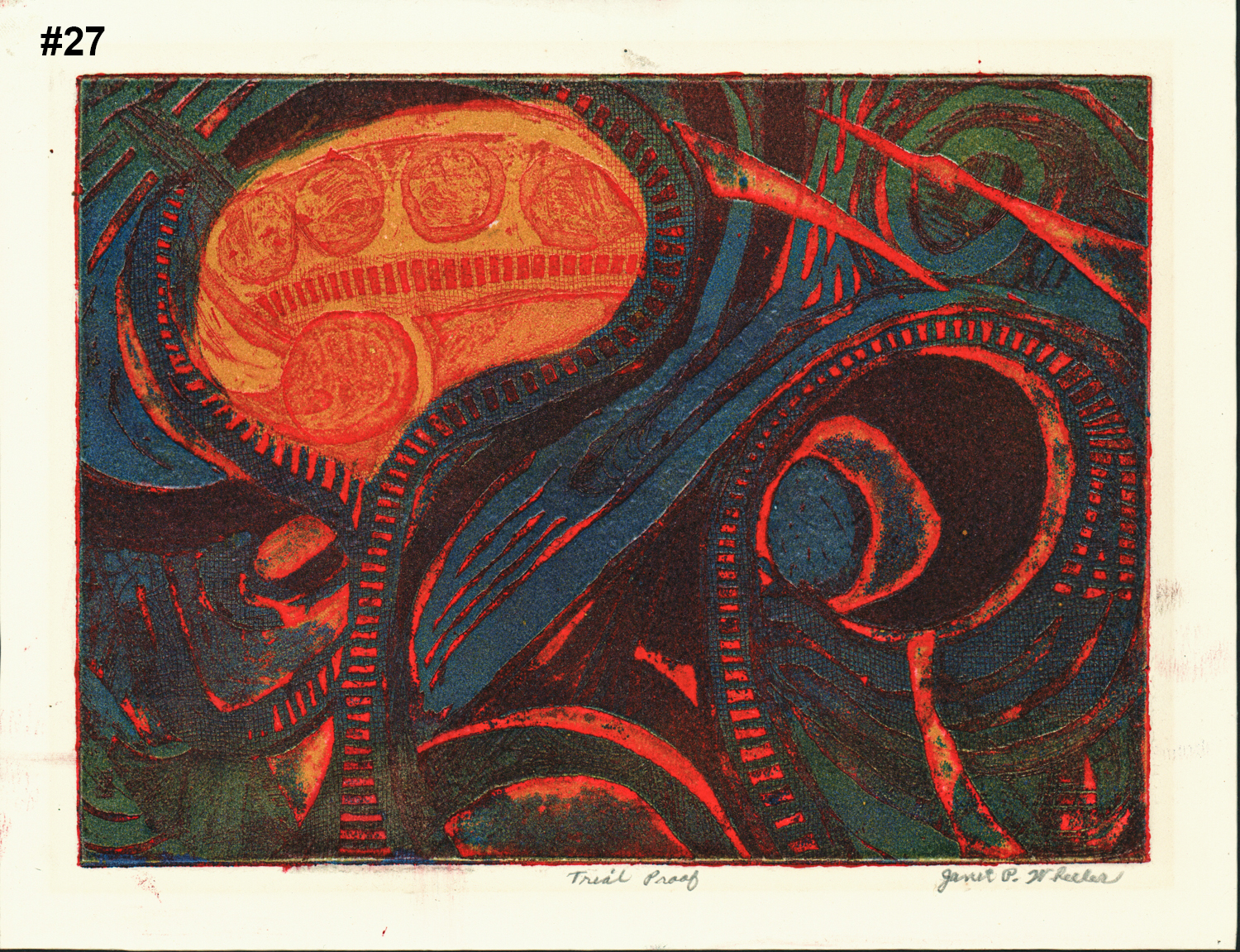 """#27 Untitled (Abstract) - Linocut - 8""""H x 10""""W"""