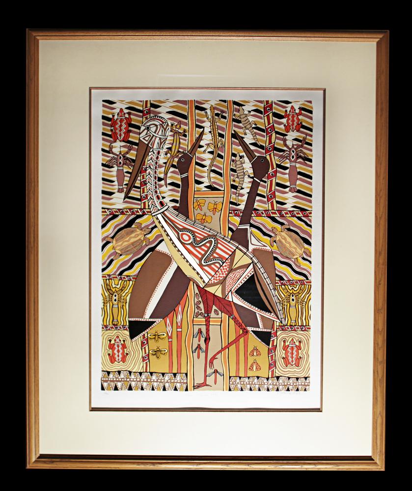 Doris Gingingarra -  Three Jabirus  1990 -  Framed size: 107x87cm