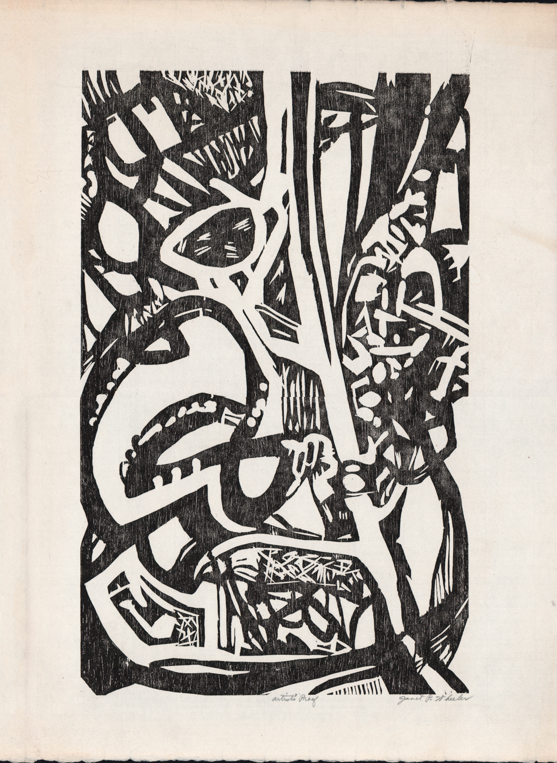 Untitled (Black Abstract 2) - Lithograph? - 22