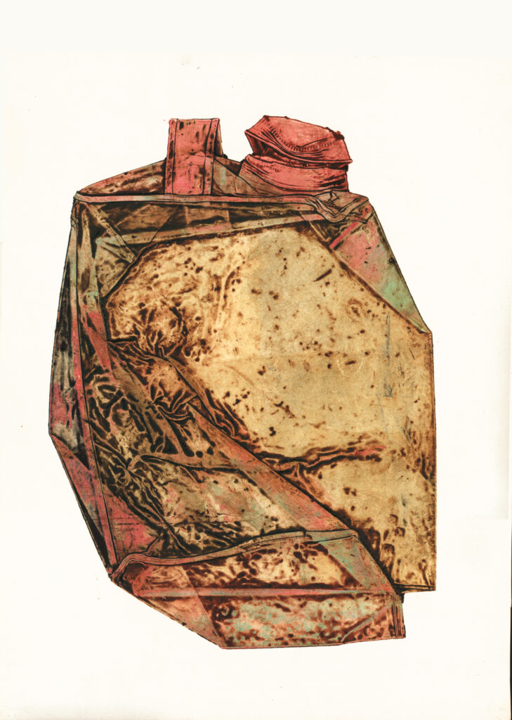 """Untitled (Gas Can) - Collagraph - 16""""H x 12.5""""W"""
