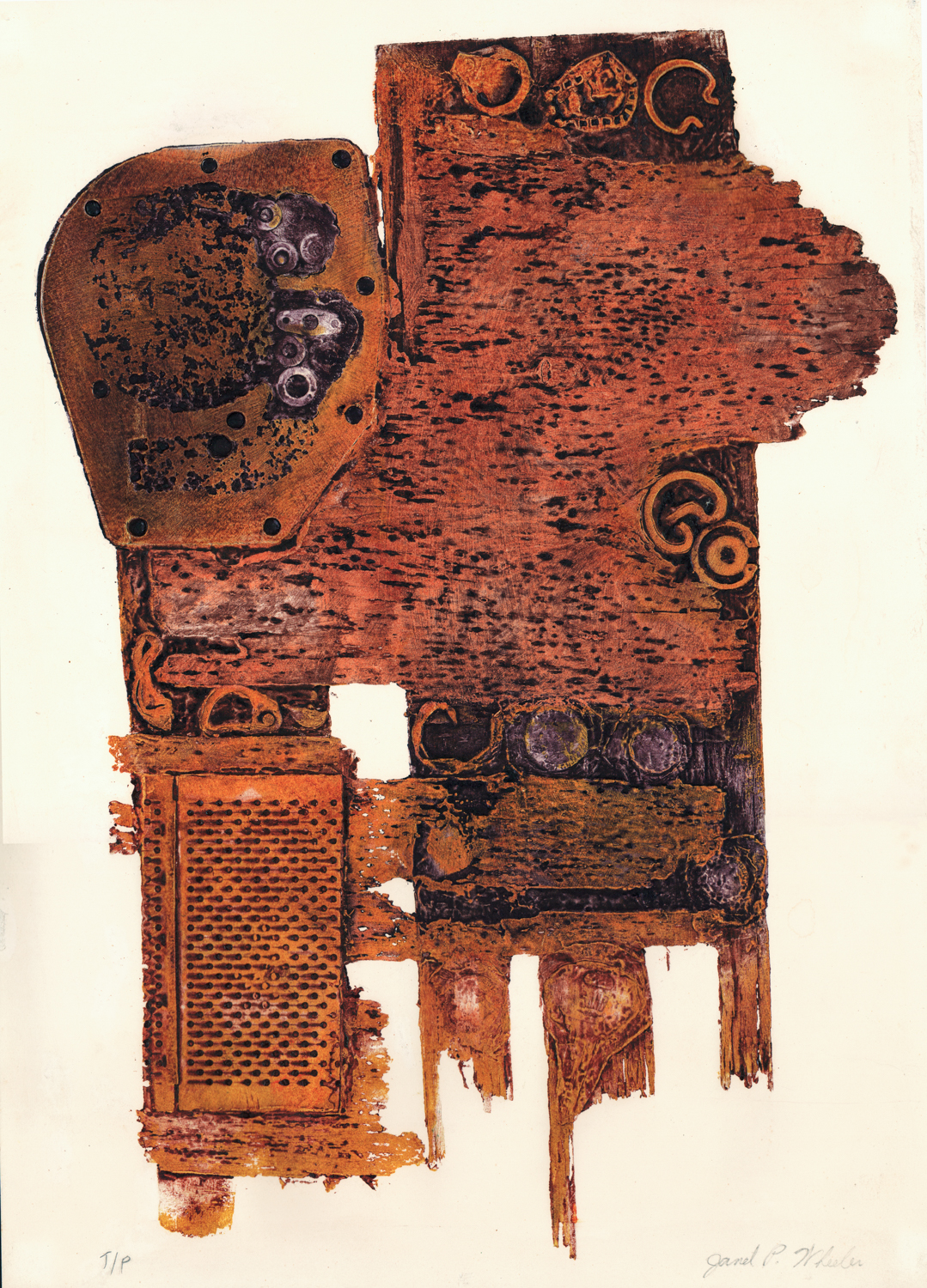 Untitled (Orange/Brown) - dated July 1 1981 - Collagraph - 18