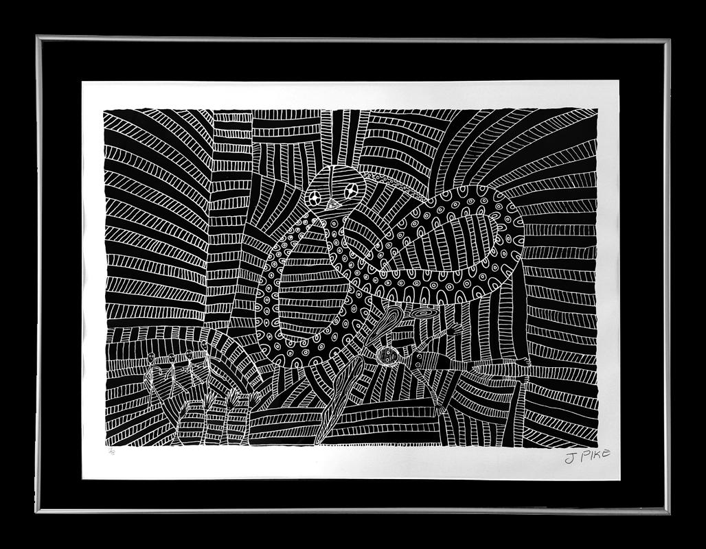 Jimmy Pike -  Rainbow Serpent -  Framed: 44x62cm
